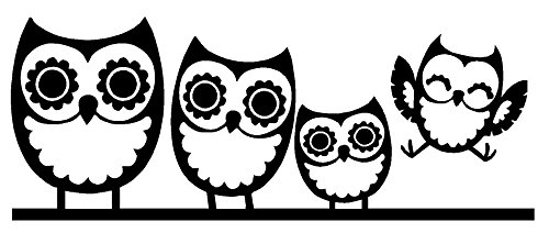 Owl Family of Four Decal, H 3.25 By L 8.5 Inches, Please Message Us Your Color Choice (Owl Auto Decal compare prices)