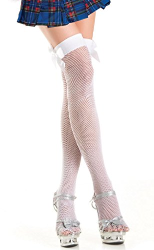 Costume Adventure Women's White Fishnet Sexy School Girl Stockings With Bow