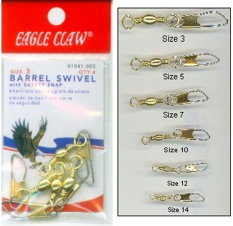 Barrel Swivels w/Safety Brass Size2/0 2pcs - Eagle Claw Tackle 01041-029, Fishing Terminal Tackle