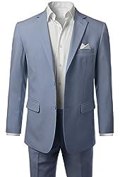 MONDAYSUIT Mens Two-Piece Slim-Fit Solid Two-Button Blazer Jacket & Trouser Set