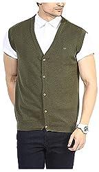 UV&W Men's Cotton Sweater (FWFK3333_S_Olive Melange, Olive Melange Small)