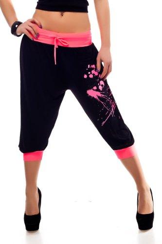 Sports Capri Trousers with Neon Graffitti Print (XXL, Black-Neonpink)