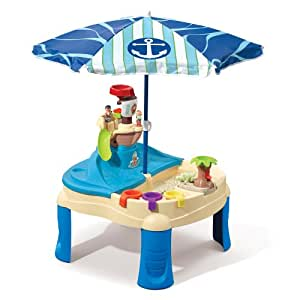 step2 high seas adventure sand toys and water table with umbrella toys games. Black Bedroom Furniture Sets. Home Design Ideas