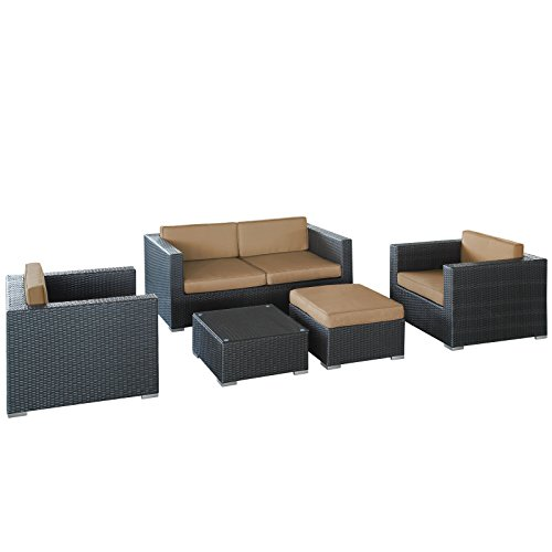 LexMod Malibu Outdoor Wicker Patio 5 Piece Sofa Set In Espresso with Mocha Cushions