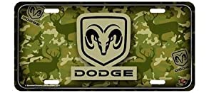 Dodge Logo Camo Metal License Plate Racing Reflections Lpdodgec