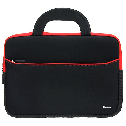 Evecase 10.6~12 inch Tablet, Netbooks Ultraportable Neoprene Zipper Carrying Case with Dual Hidden Pocket & Handle – Black/ Red