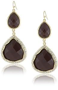 Leslie Danzis Teardrop Resin Crystals Brown Drop Earrings