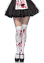 Leg Avenue Women's Bloody Zombie Thigh High Hosiery, White/Red, One Size