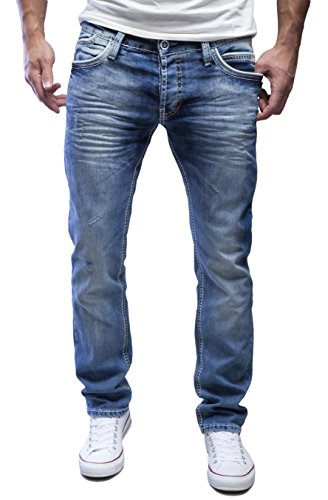 AMICA by MERISH Herren Jeans Straight Fit Destroyed Blue Jeans J9653 Blau 32/32