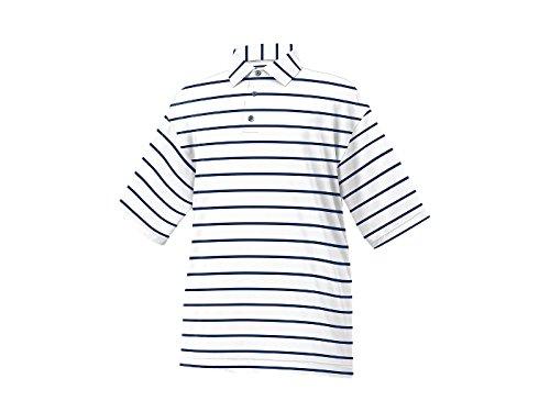 FootJoy Stretch Lisle Stripe Self Collar Golf Polo 2016 White /Navy Large