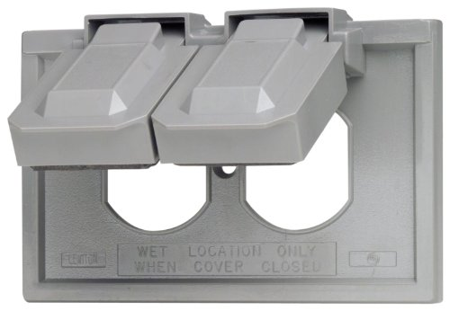 Leviton 4976-GY 1-Gang Duplex Device Wallplate Cover, Weather-Resistant, Thermoplastic, Device Mount, Horizontal, Gray