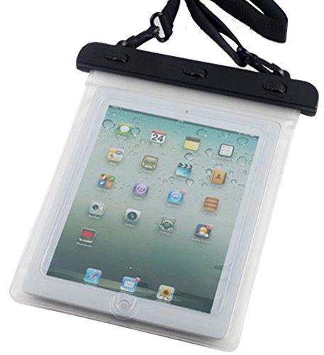 7-10 インチ タブレット用防水ケース 首掛けストラップ付き ipad 2/3/4 Air1/2/ipad mini/ ARROWS Tab/dtab/ASUS/Xperia tablet/Galaxy note10.1 ホワイト