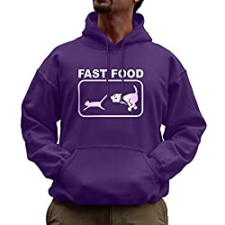 Nutees Fast Food Dog Chasing Cat Funny Unisex Hoodie - Purple