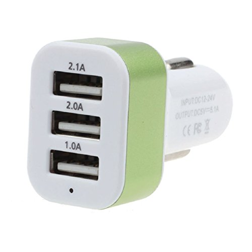 Lookatool® Car Universal 12V 24V 3Port USB Charger Adapter For Cellphone GPS (Green)
