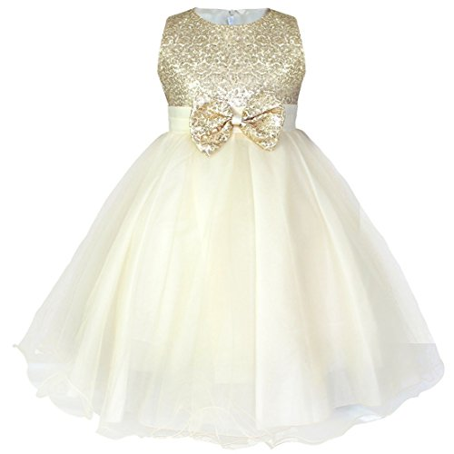 FEESHOW Little Girls' Sequined Wedding Party Pageant Princess Flower Tulle Dress Size 10 Champagne