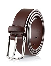 Savile Row High Quality Men\'s 100% Leather Classic Dress Belt Brown (Size 34)