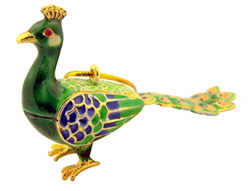 Gold Tone and Enamel Green Peacock Ornament, 3 1/2 Inch