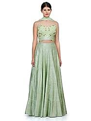 Fabron green raw silk lehenga choli with natural dyed dori work blouse for woman