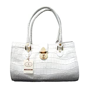L.A.P.A. Italian Designer Croc Embossed Handbag Satchel in Off-White or Yellow Leather