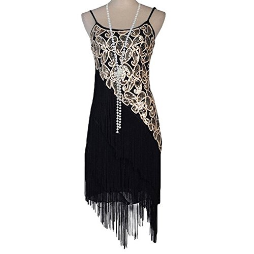 Hontu Women's Paisley Art Deco Sequin Tassel Glam Party Gatsby Dress Medium Black