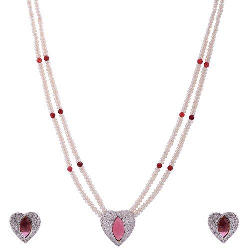 Red Kmjewels Pearl Cz Red Combination Pendant Set - 2 Strand. (White)