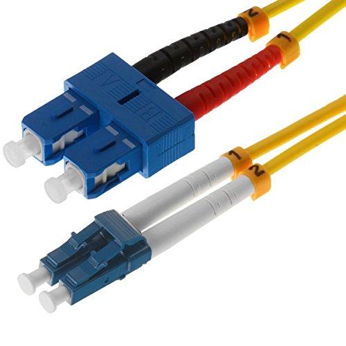 Helos LWL Patchkabel 9/125 m OS2 LC/SC 2,0 m, SC und LC Duplex Stecker, gelb, 115800