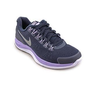 Nike Women's NIKE LUNARGLIDE+ 4 WMNS RUNNING SHOES 5 (PBSDN/RFLCT SLVR/MDM VLT/PLST)