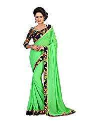 Fashion205 Women Faux Georgette Saree (OCO-AR8-1067_Green_Green_Free Size)