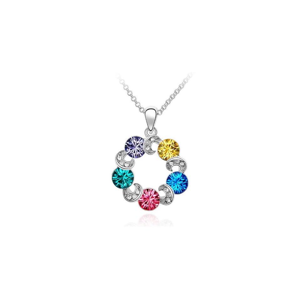 Swarovski Crystal Rhinestone Luck Charm Horseshoe Wreath Circle Pendant Necklace