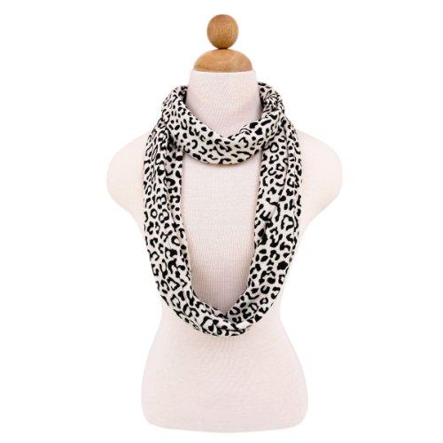 Leopard Animal Print Infinity Loop Fashion Scarf, Black/White