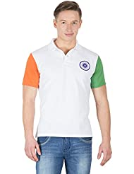 Hypernation White Color Half Sleeves Polo Neck T-Shirt For Men