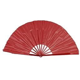 Folding Plastic Ribs Flutter Rim Chinese Folk Dance Hand Fan 2 Pcs Red