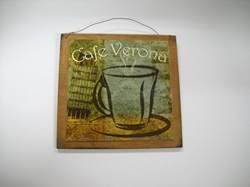 Cafe Verona Mug Of Coffee Kitchen Wooden Wall Art Sign