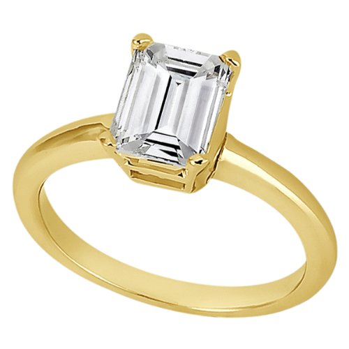 Wrap Solitaire Engagement Ring Setting for Emerald Cut Diamond 18k Yellow Gold