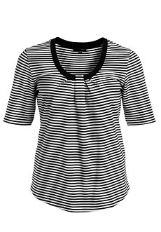 Woman Within Plus Size Pleated Striped Tee By Ellos (Black White Stripe,L)