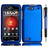 Blue Premium Design Protector Hard Cover Case for Motorola Droid 4 4G Maserati XT894 Android Smartphone  Verizon  + Bonus 1 of New Rubber Grip Translucent Ball Point Pen