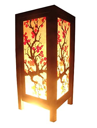 Thai vintage handmade asian oriental japanese sakura for Oriental wood floor lamp