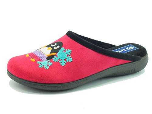 Pantofole InBlu per donna in tessuto ciclamino con pinguino fantasia (Taglia 39)