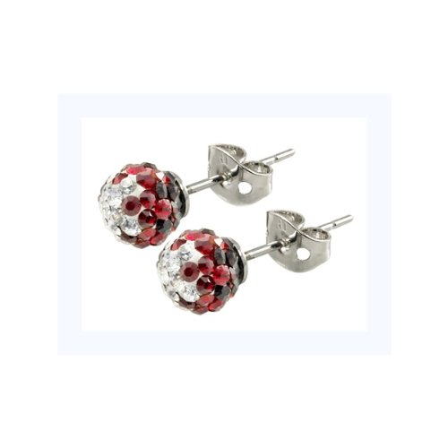 Tresor Paris Sassy Red And White Crystal Earrings 6mm