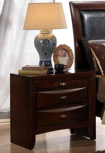 Roundhill Furniture Emily Contemporary Solid Wood Construction Night Stand, King, Espresso