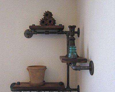 Vintage-Rohrbrcke-Schmiedeeisen-Holz-Halter-Regal-industriellen-Rohr-Wandregale-auf-der-Wand-Regalwand-StilAlte-Farbe