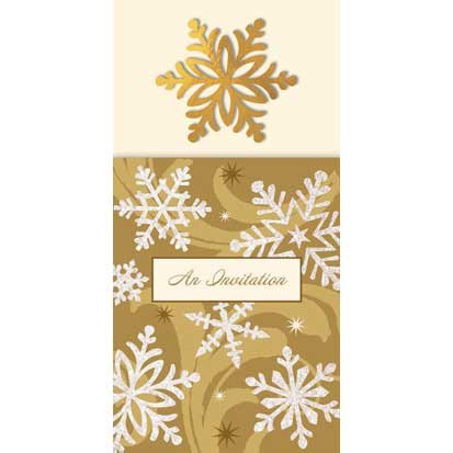 Gold Elegant Entertaining Long Invitations 8ct - 1