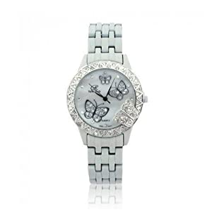 Bling Jewelry White Stainless Steel Classic Butterfly Fashion Watch