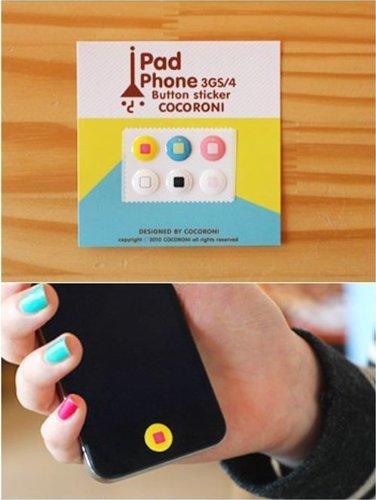 「全7柄」Apple iPhone / iPad / iPod 対応 ボタン ステッカー 6個入れ iPad iPhone button sticker (1197-1)
