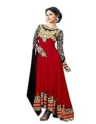 Trendz Apparels Red 60 Gm Georgette Anarkali Suit Salwar Suit
