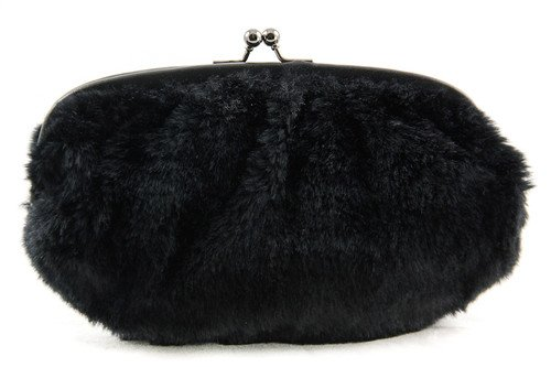 Olivia + Joy Luxe Faux Fur Clutch Handbag Purse ~ Black In Color