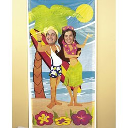 Fun Express Luau Couple Face Photo Door Banner Poster Party Decor