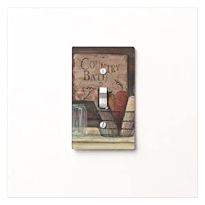Country Bath Primitive Light Switch Cover For Bathroom