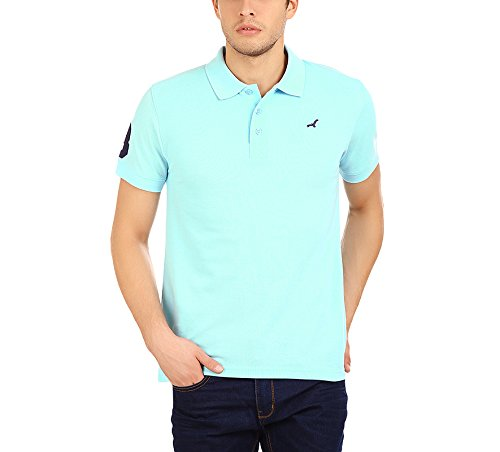 American-Crew-Mens-Polo-Collar-Half-Sleeve-Solid-T-Shirt-With-No3-Applique-Plume-Blue