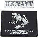 パッチ Navy SEALs ネイビーシールズ 【 PVCスカルフロッグ(黒色)+U.S.NAVYシール 】米海軍特殊部隊 デブグルー DEVGRU ナイトナイン ライオンクルセイダー 徽章 腕章 ワッペン サブデュード 部隊章 胸章 U184